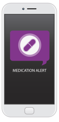 Stylized cell phone with a generic medication reminder.